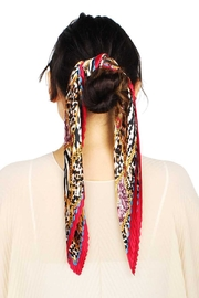 Nadya's Closet Animal Print Pleated Satin Scarf - Front cropped