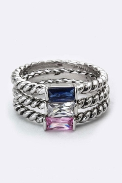 Shoptiques Product: Baguette Crystal Triple-Ring