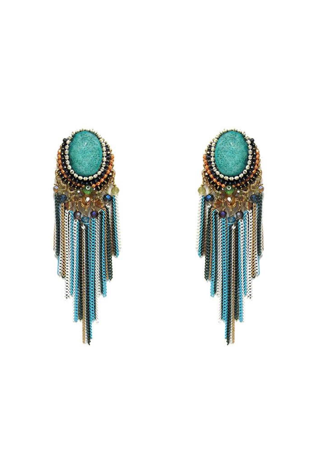 Nadya's Closet Bead And Stone Earrings - Front Cropped Image