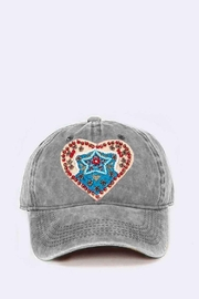 Nadya's Closet Beaded Heart Patch Washed Cotton Cap - Product Mini Image