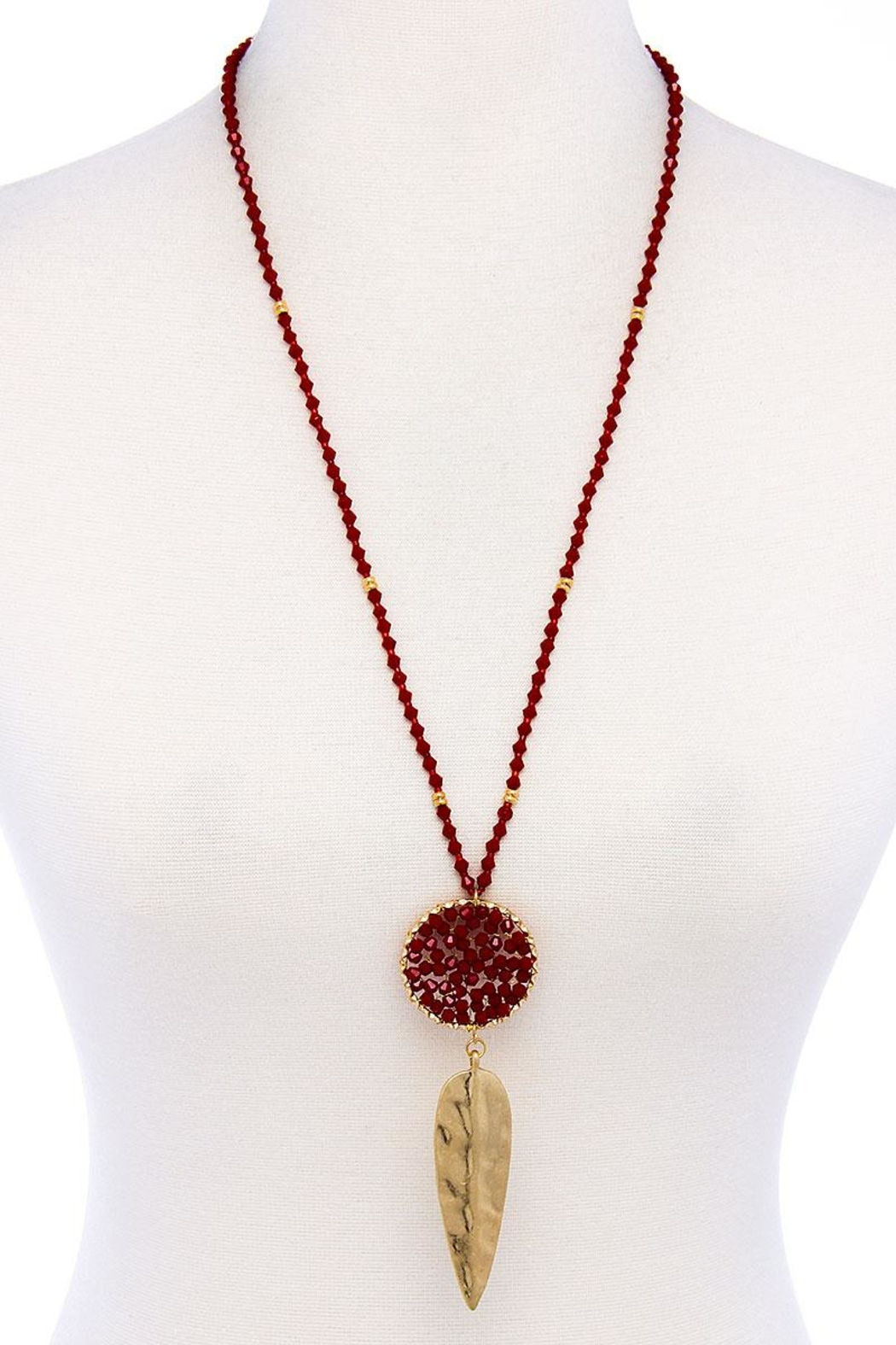 Nadya's Closet Beaded Ring Pendant Necklace - Front Cropped Image