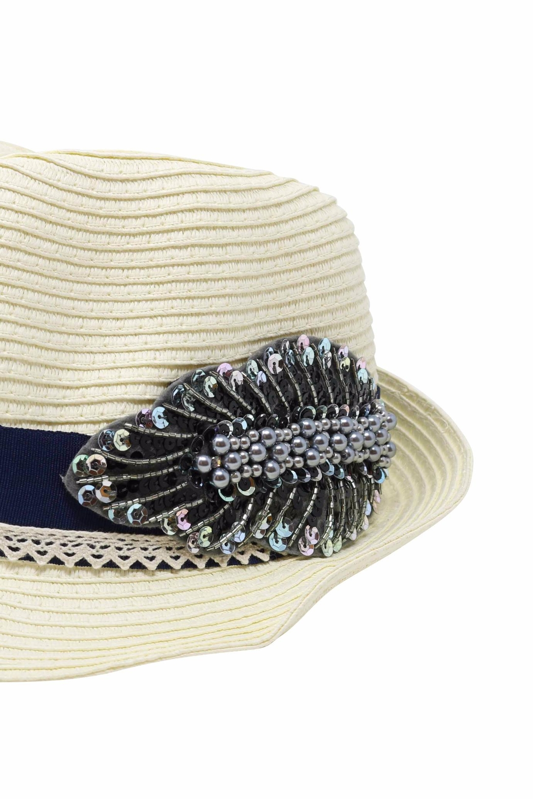 Nadya's Closet Beads & Sequins Fedora - Front Full Image