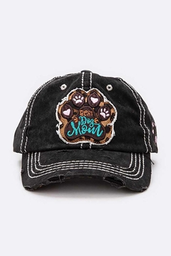 Shoptiques Product: Best Dog Mom Embroidered Cotton Cap