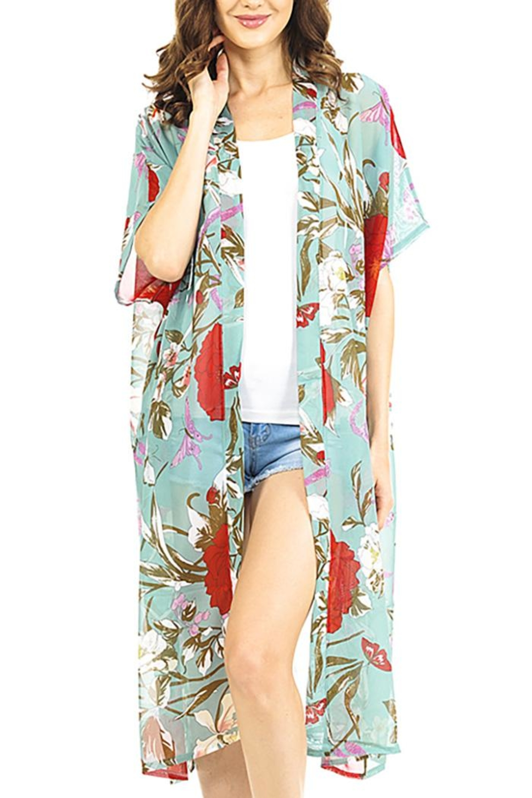 Nadya's Closet Blooming Flowers Kimono - Front Cropped Image