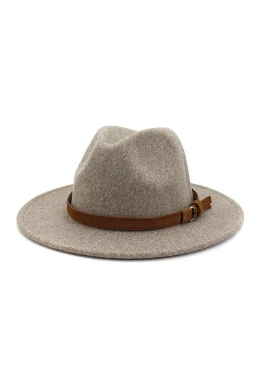 Nadya's Closet Brown Casual Belt Trendy Panama Hat - Front Cropped Image