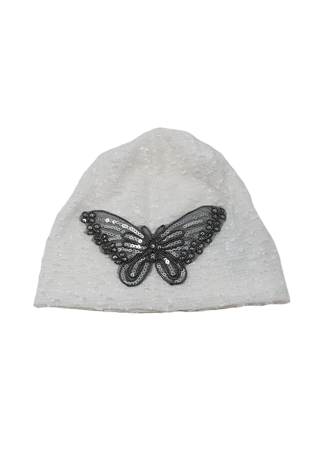 Nadya's Closet Butterfly Glitter Beanie - Front Cropped Image