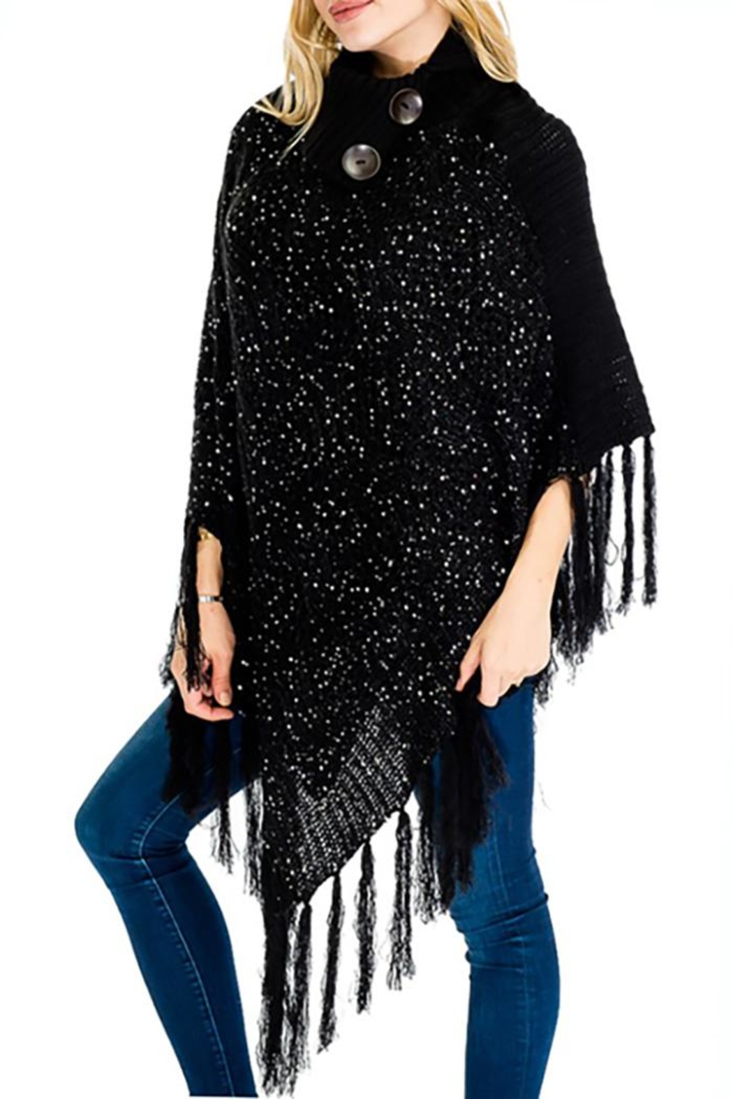 Nadya's Closet Buttons & Fringes Poncho - Front Full Image