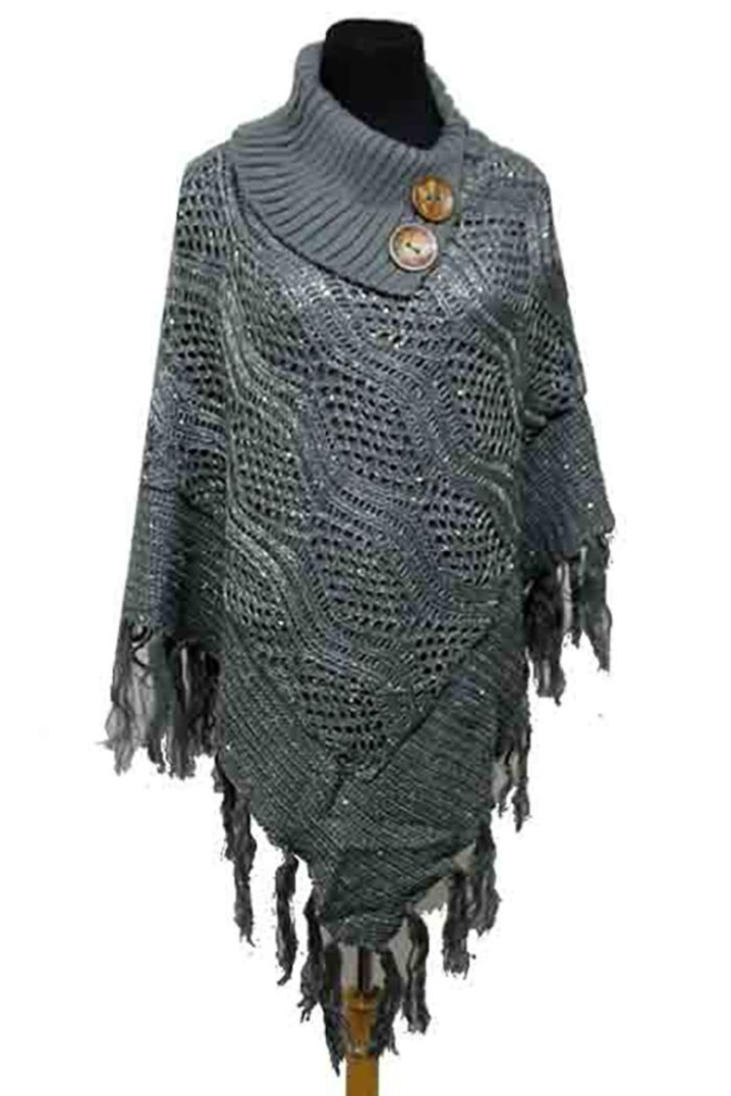 Nadya's Closet Buttons & Fringes Poncho - Front Cropped Image