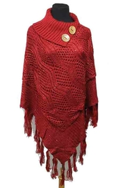 Nadya's Closet Buttons & Fringes Poncho - Front cropped