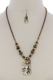 Nadya's Closet Cat Pendant Beaded Necklace - Front cropped