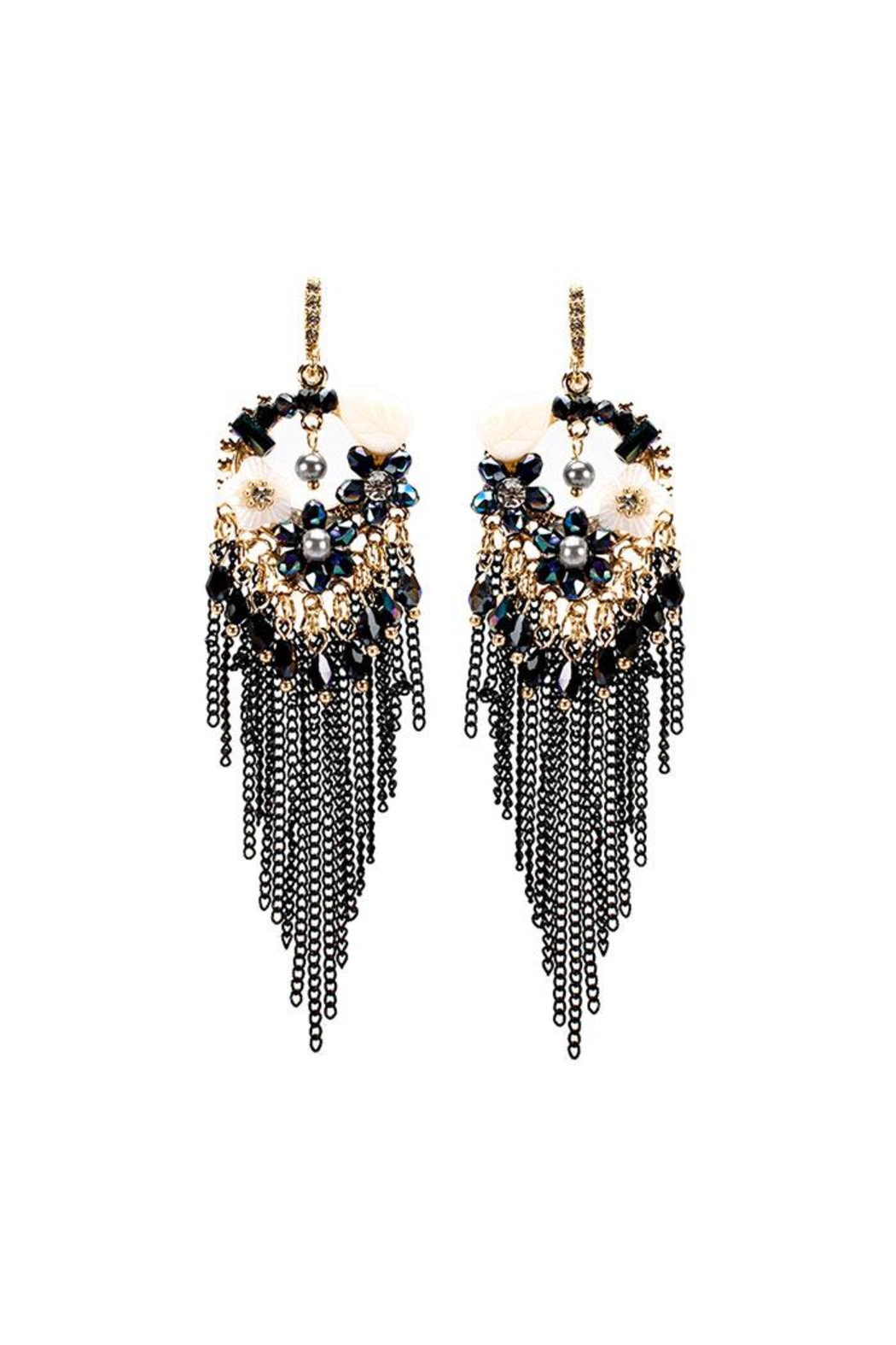 Nadya's Closet Chain & Bead Chandelier Earrings - Front Cropped Image