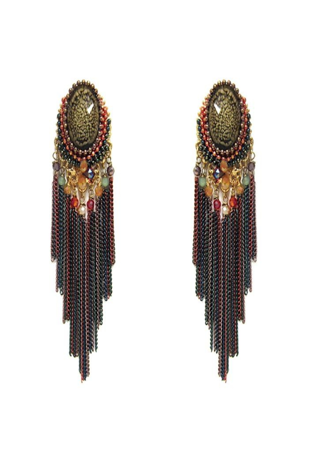 Nadya's Closet Chain Tassel Earrings - Front Cropped Image