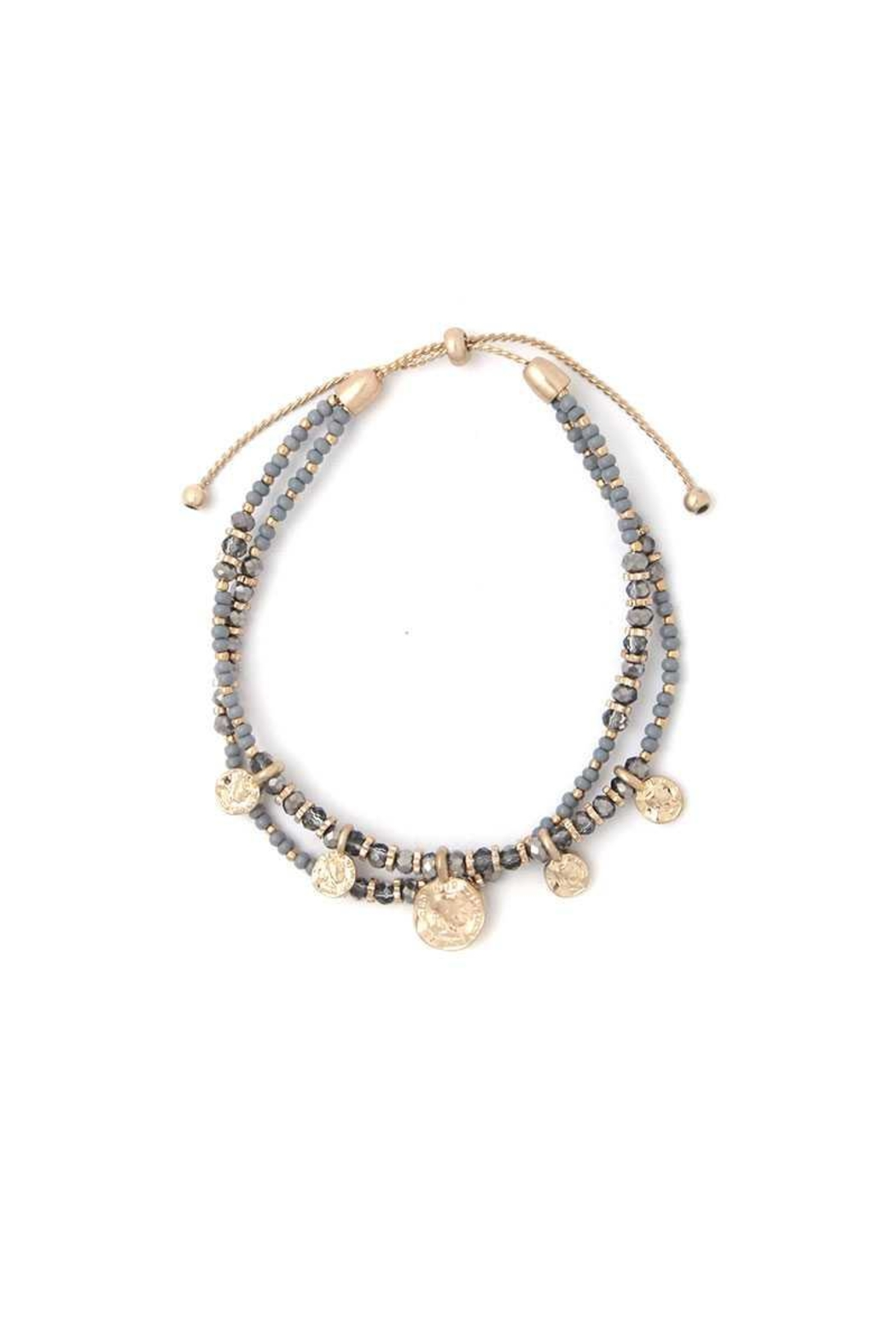 Nadya's Closet Coin Charm Beaded Bracelet - Front Cropped Image
