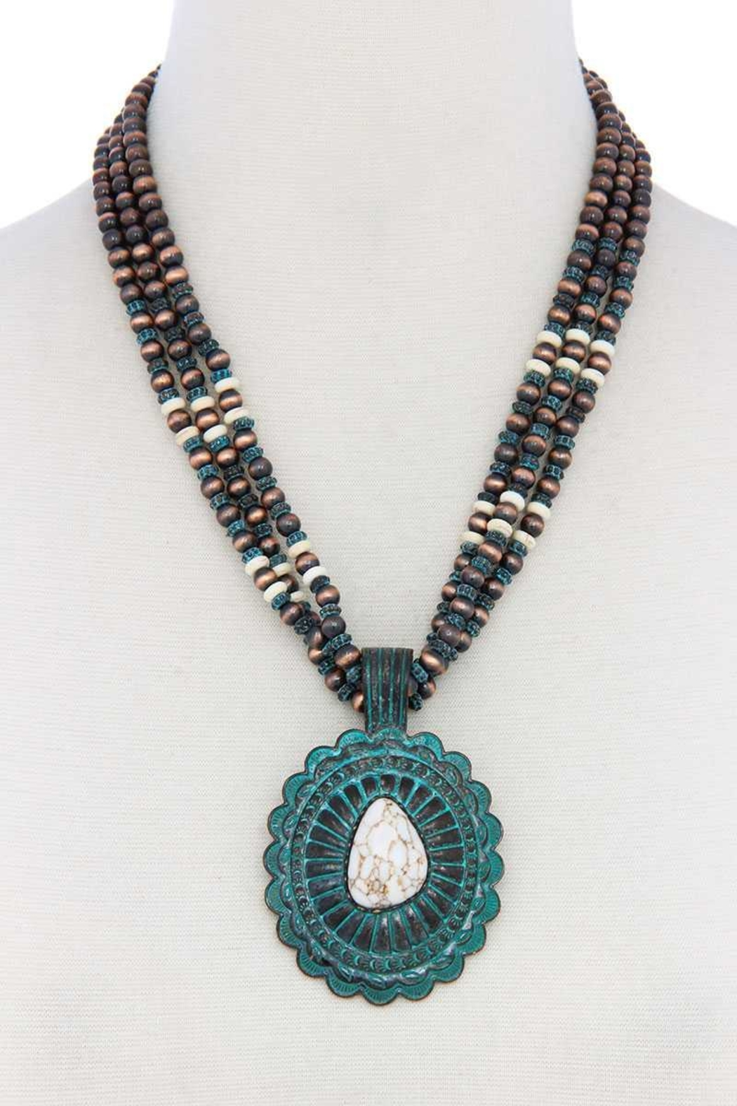 Nadya's Closet Concho Pendant Beaded Necklace - Front Cropped Image