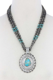 Nadya's Closet Concho Pendant Beaded Necklace - Product Mini Image