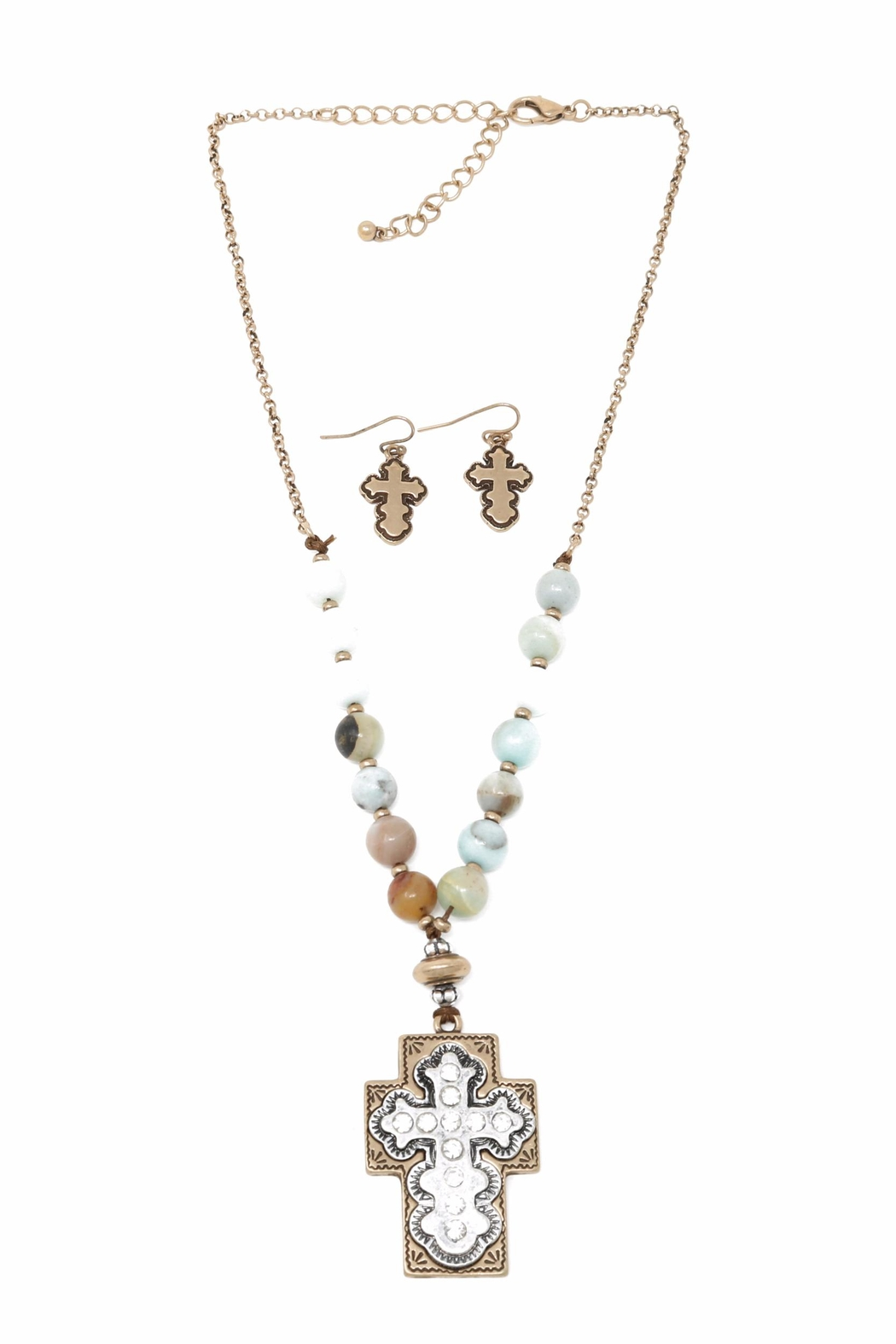 Nadya's Closet Cross Accent Necklace Set - Front Cropped Image