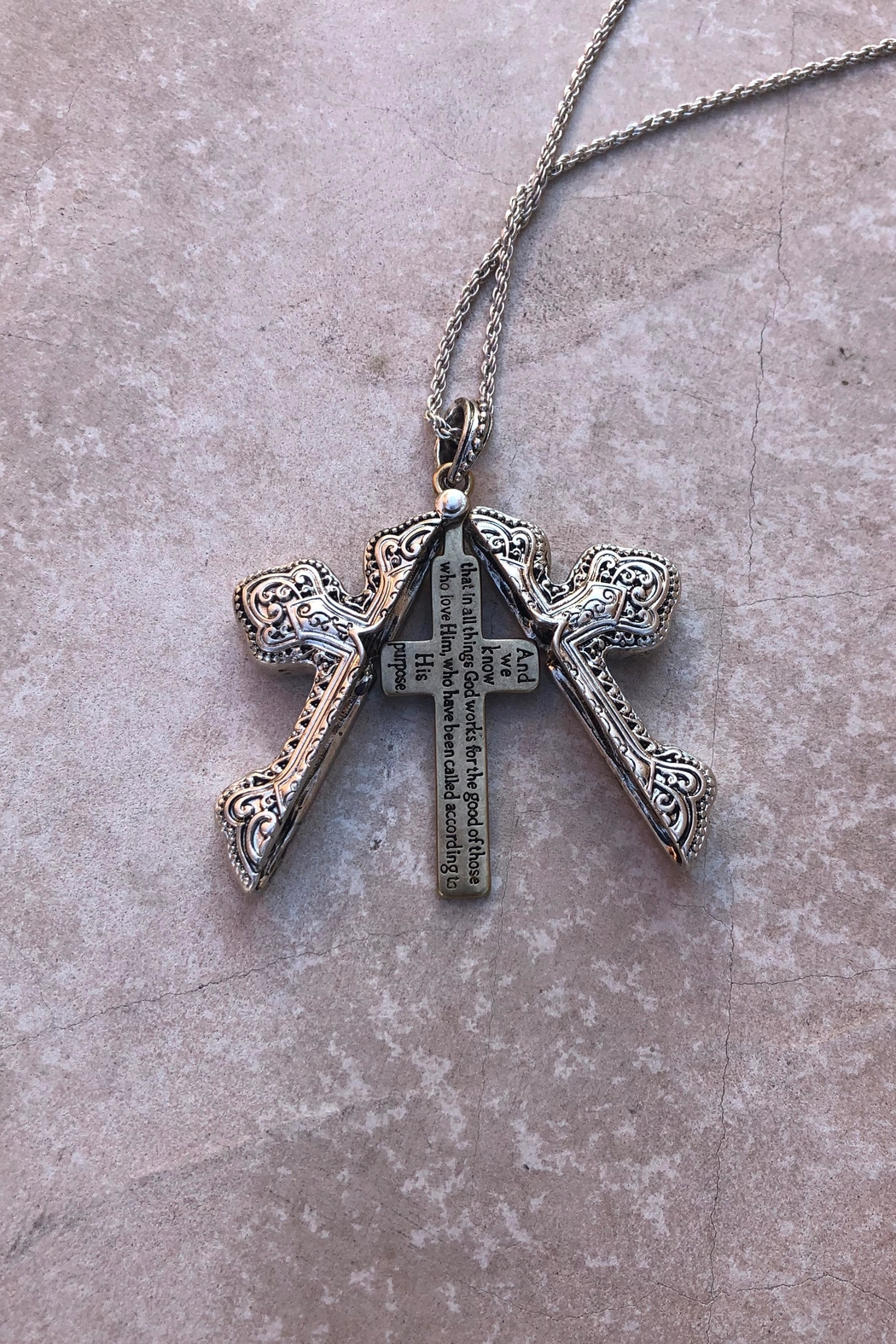 Nadya's Closet Cross Message Locket-Necklace - Side Cropped Image