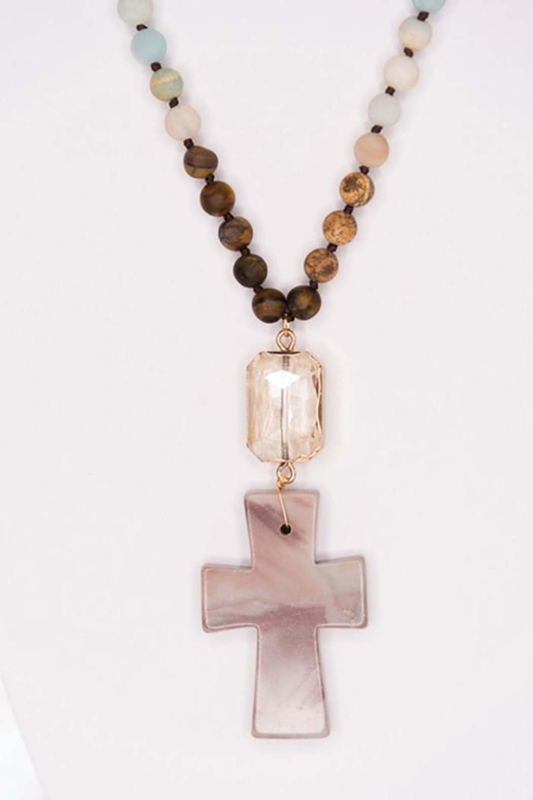 Nadya's Closet Crystal And Cross Pendant Necklace - Front Full Image