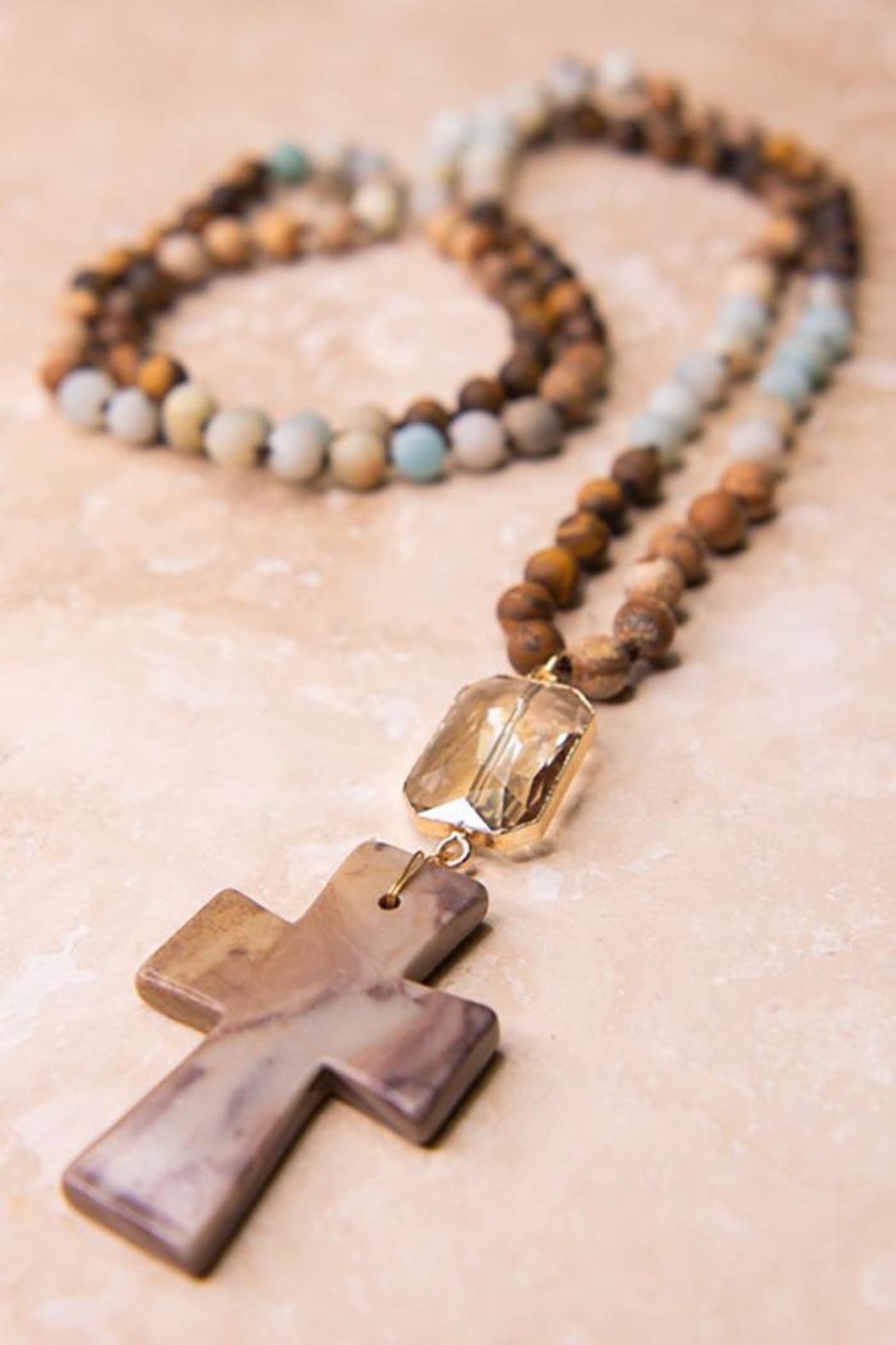 Nadya's Closet Crystal And Cross Pendant Necklace - Main Image