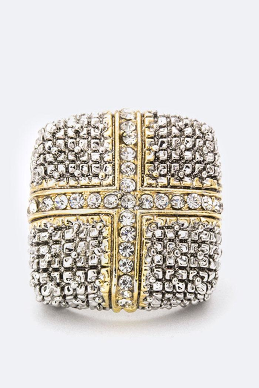 Nadya's Closet Crystal Cross Ring - Front Full Image
