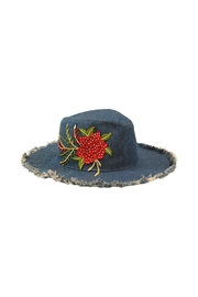 Nadya's Closet Crystal Floral Denim Hat - Product Mini Image