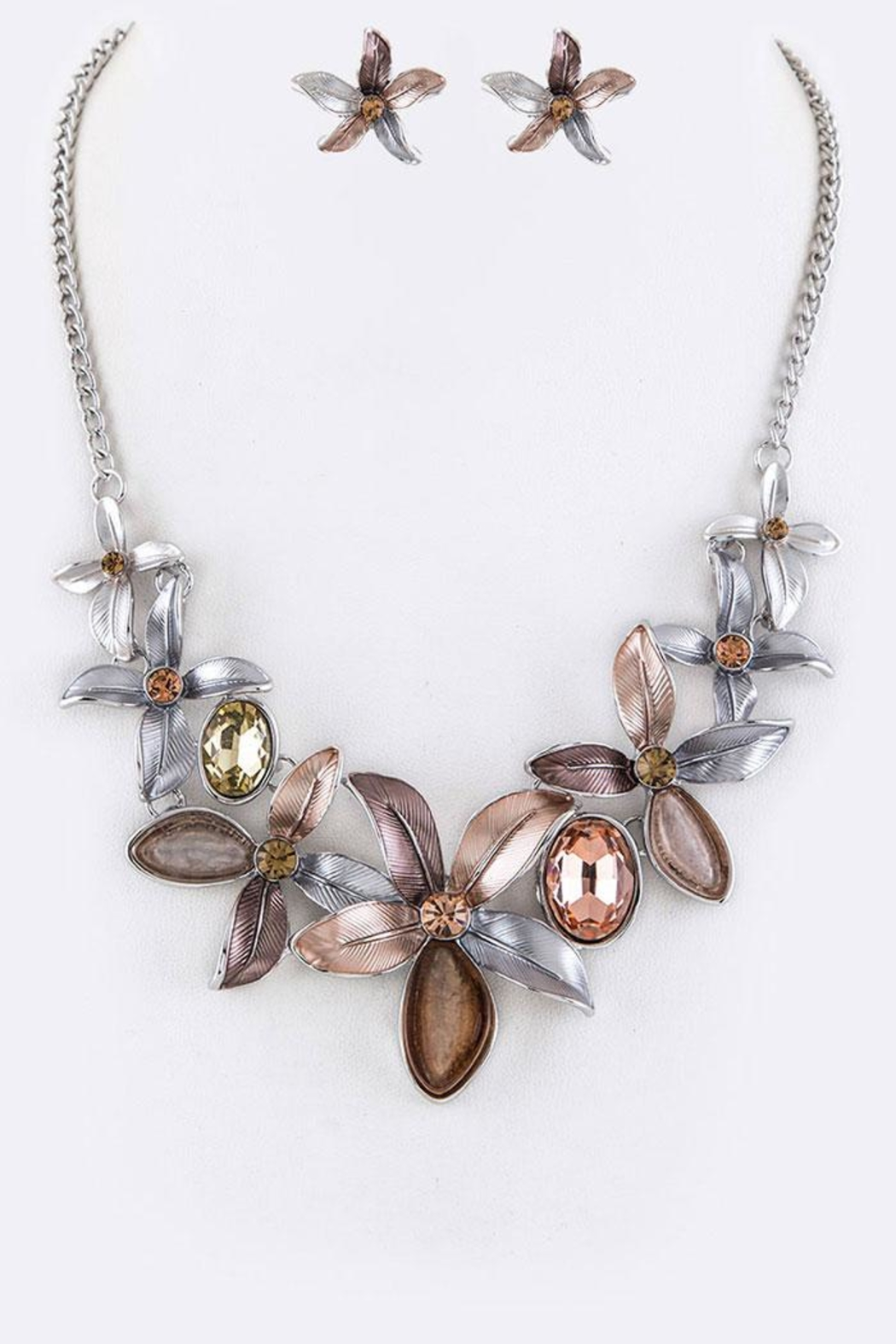 Nadya's Closet Crystal Flowers Necklace-Set - Front Cropped Image