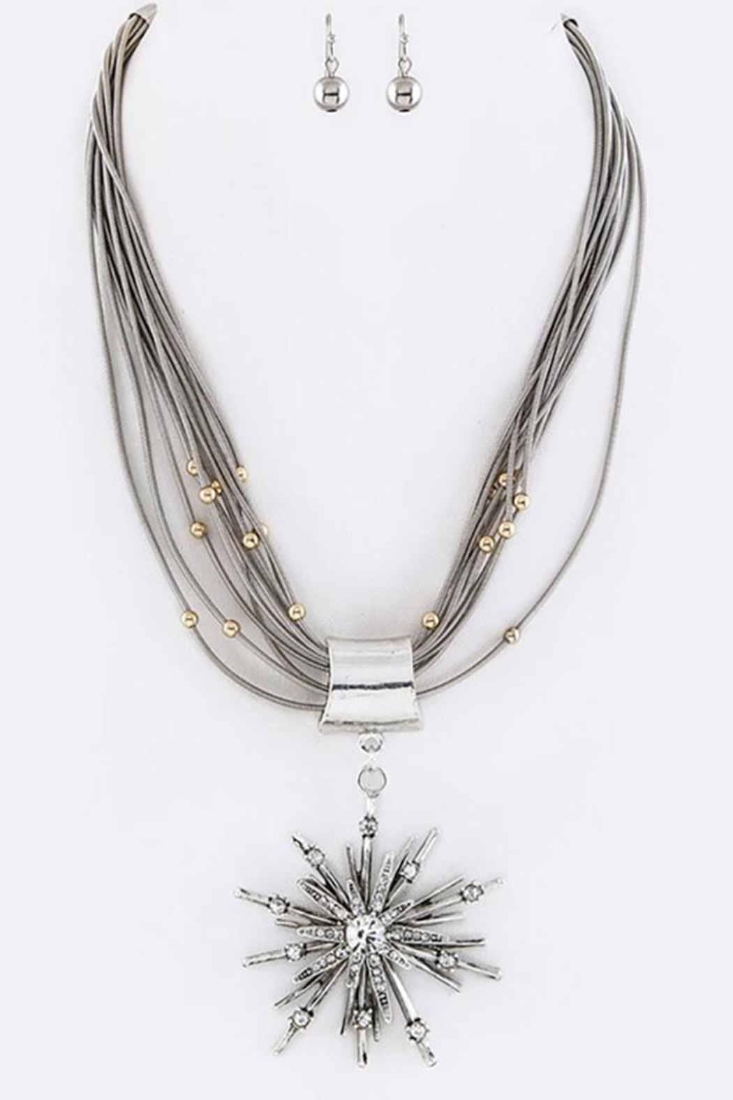 Nadya's Closet Crystal-Star Necklace Set - Front Cropped Image