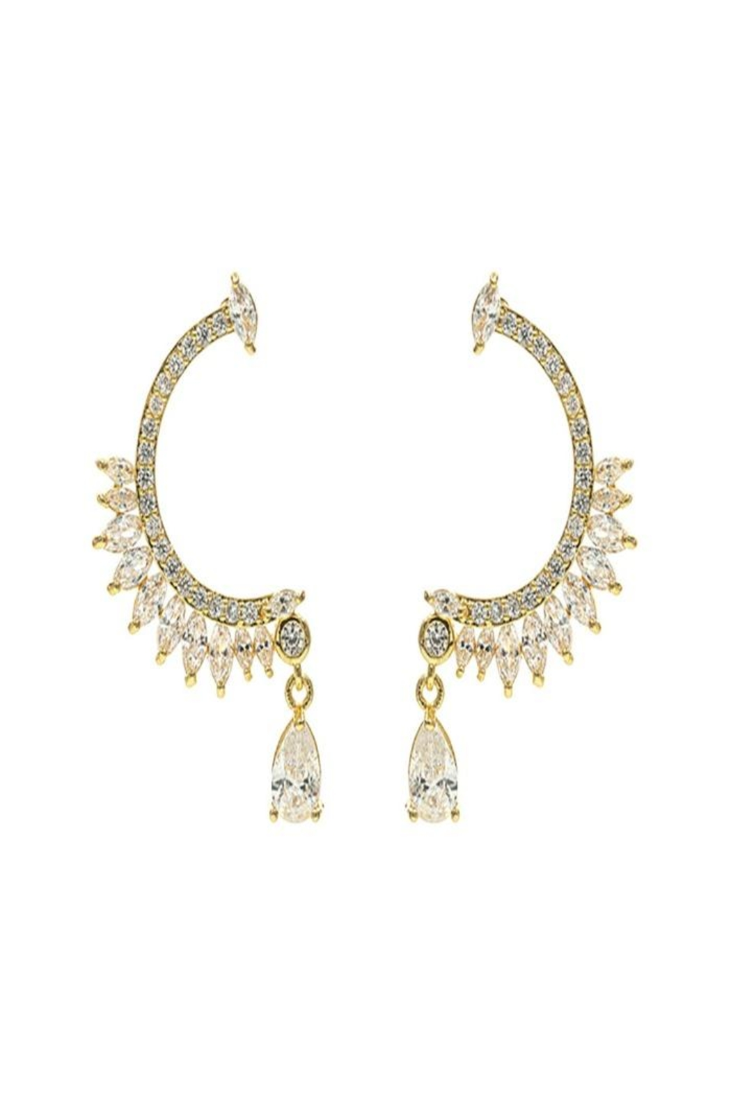 Nadya's Closet Cz Drop Post Earrings - Front Cropped Image