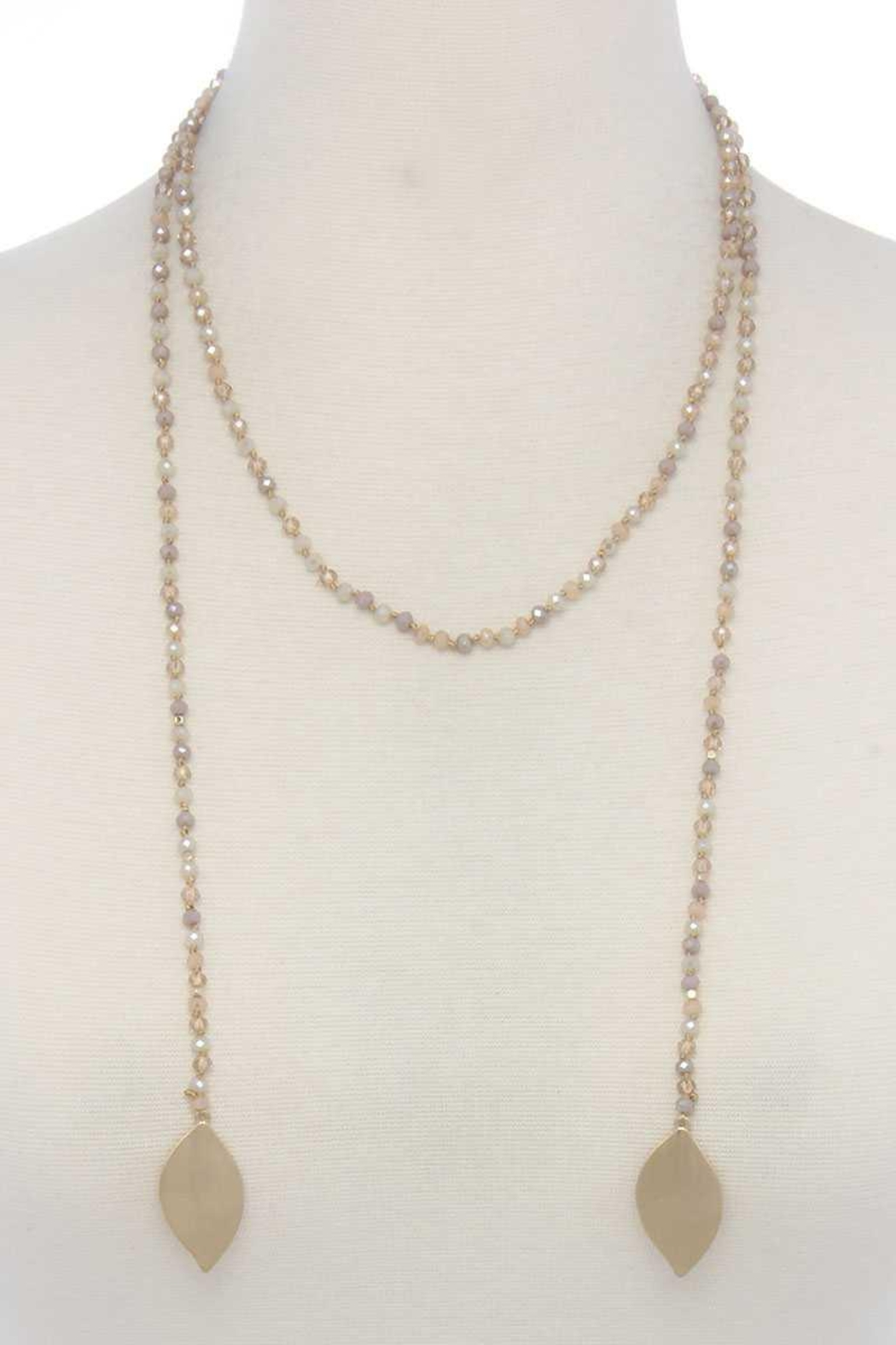 Nadya's Closet Double Pointed Oval Shape Beaded Necklace - Front Cropped Image