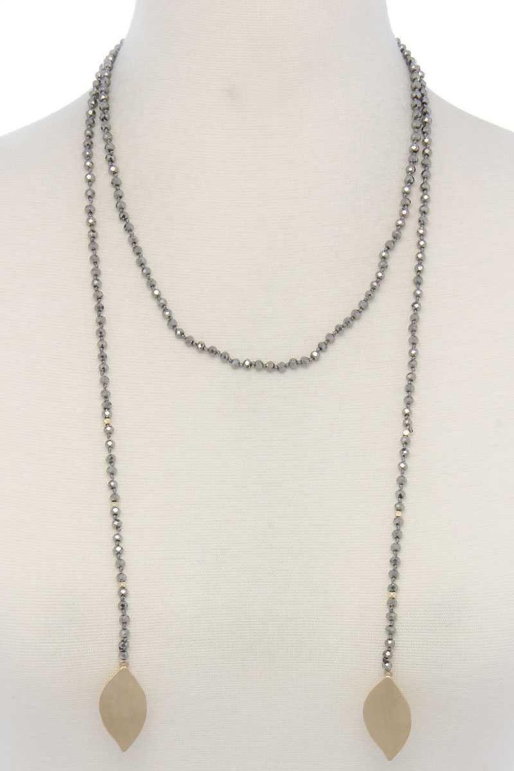 Nadya's Closet Double Pointed Oval Shape Beaded Necklace - Main Image