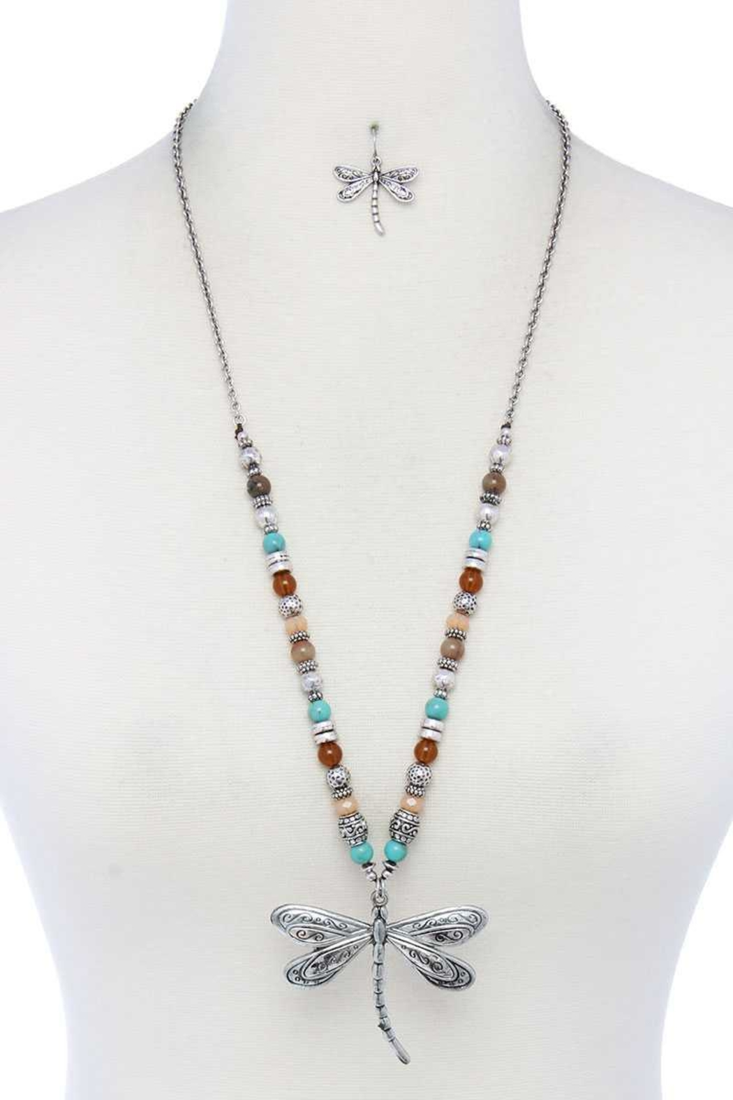 Nadya's Closet Dragonfly Beaded Necklace - Front Cropped Image