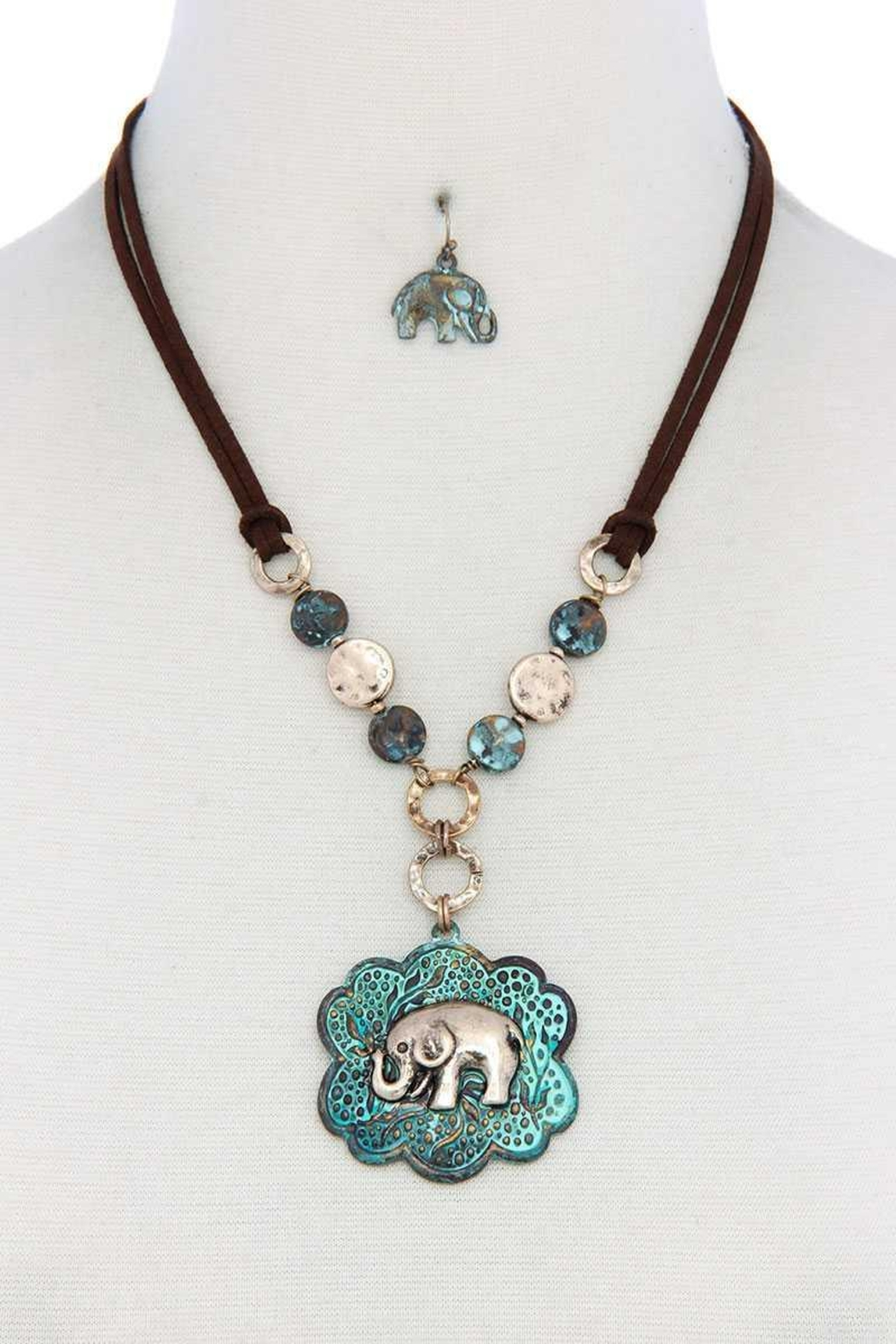 Nadya's Closet Elephant Pendant Hammered Coin Suede Necklace - Main Image