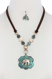 Nadya's Closet Elephant Pendant Hammered Coin Suede Necklace - Front cropped