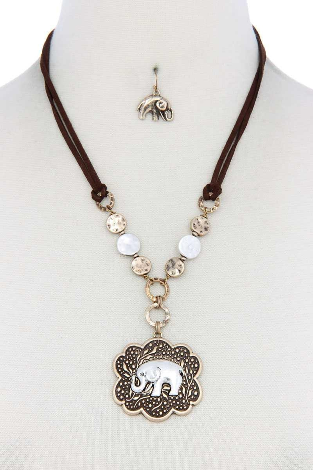 Nadya's Closet Elephant Pendant Hammered Coin Suede Necklace - Front Cropped Image