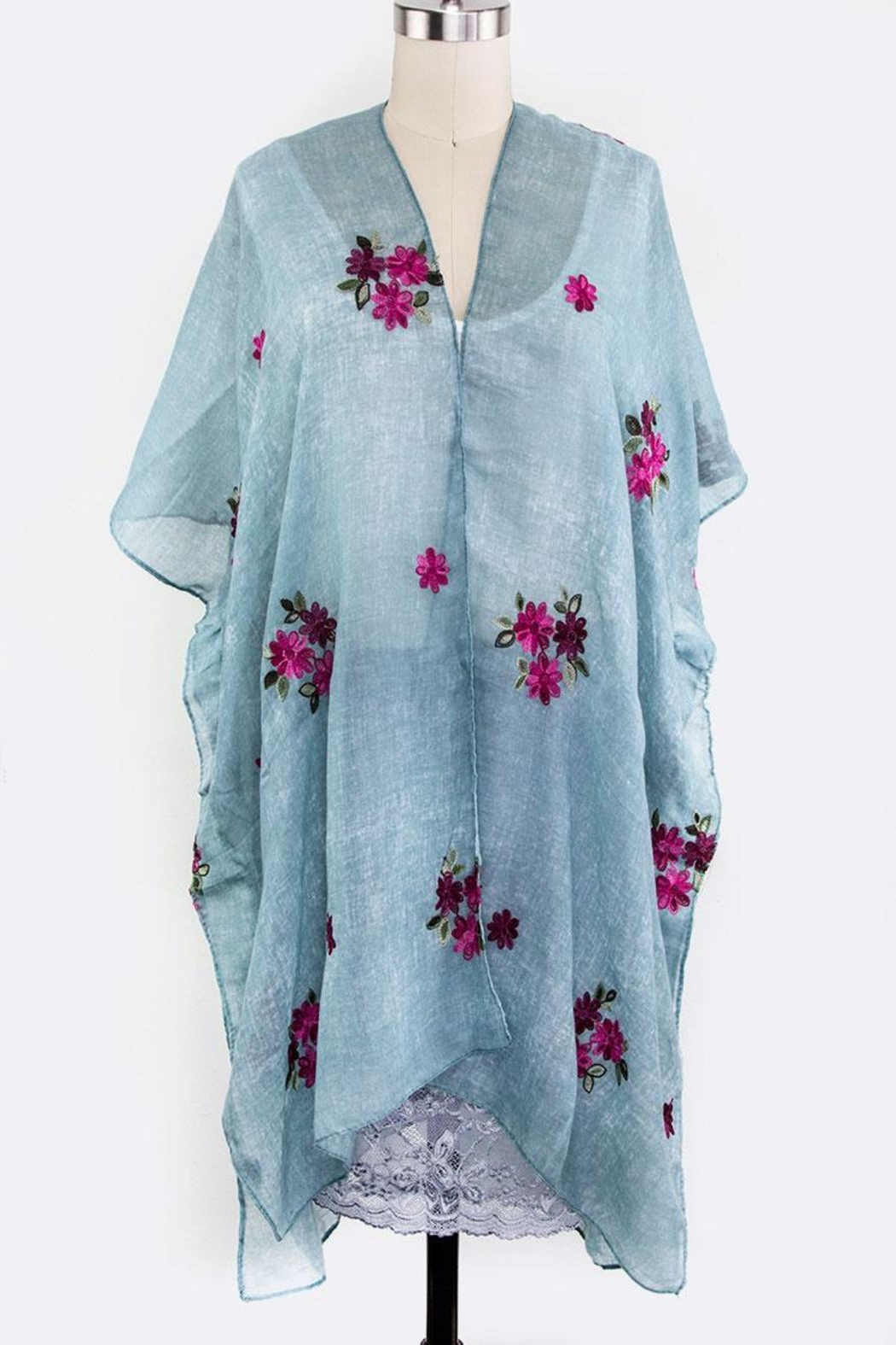 Nadya's Closet Embroidered Floral Cardigan - Front Cropped Image