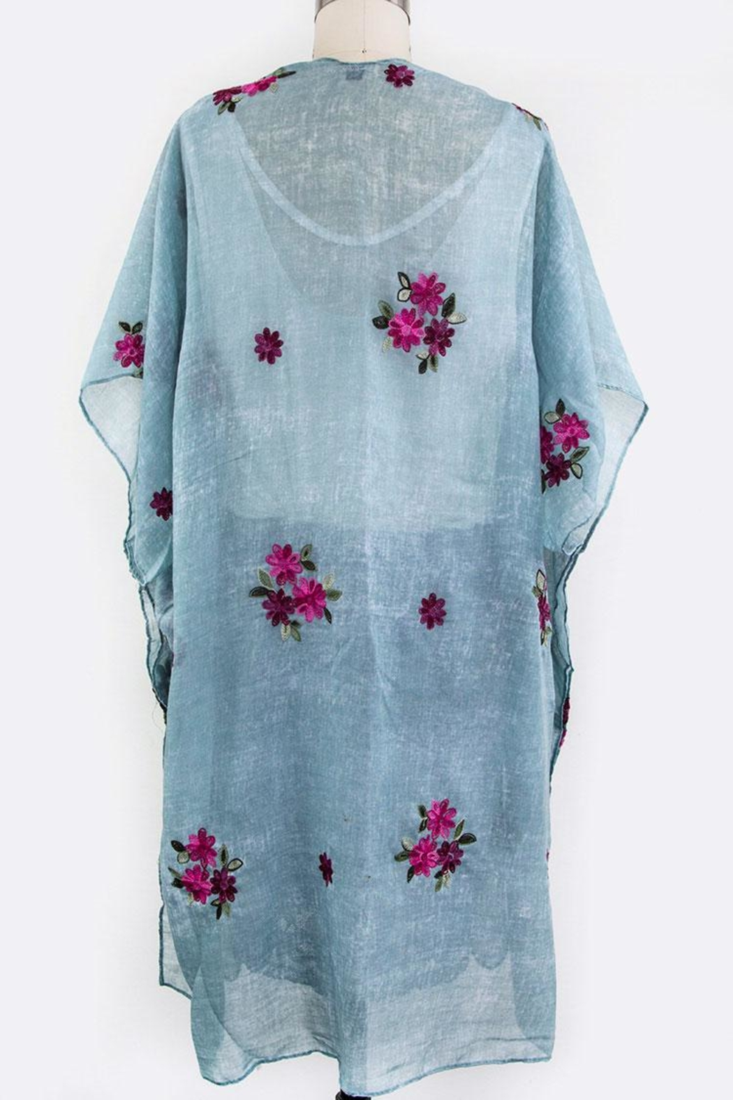 Nadya's Closet Embroidered Floral Cardigan - Back Cropped Image