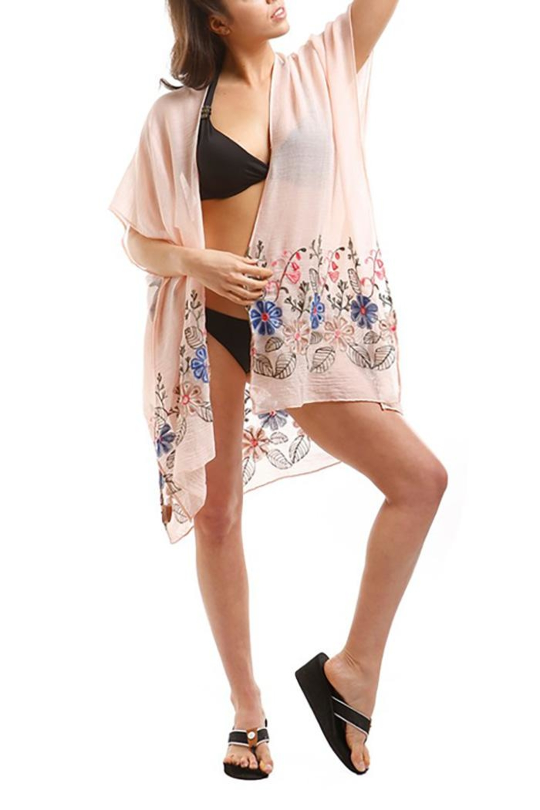 Nadya's Closet Embroidered Floral Kimono - Front Cropped Image