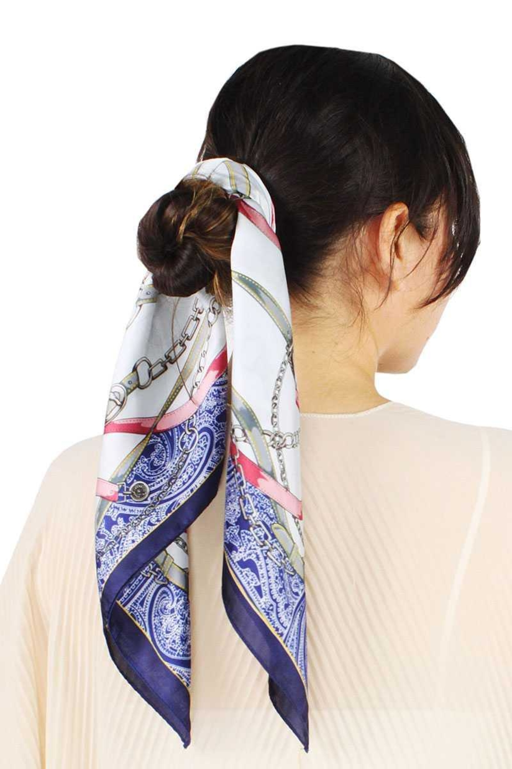 Nadya's Closet Equestrian Print Satin Scarf - Front Cropped Image