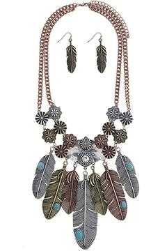 Nadya's Closet Etched Feather Necklace Set - Product List Image