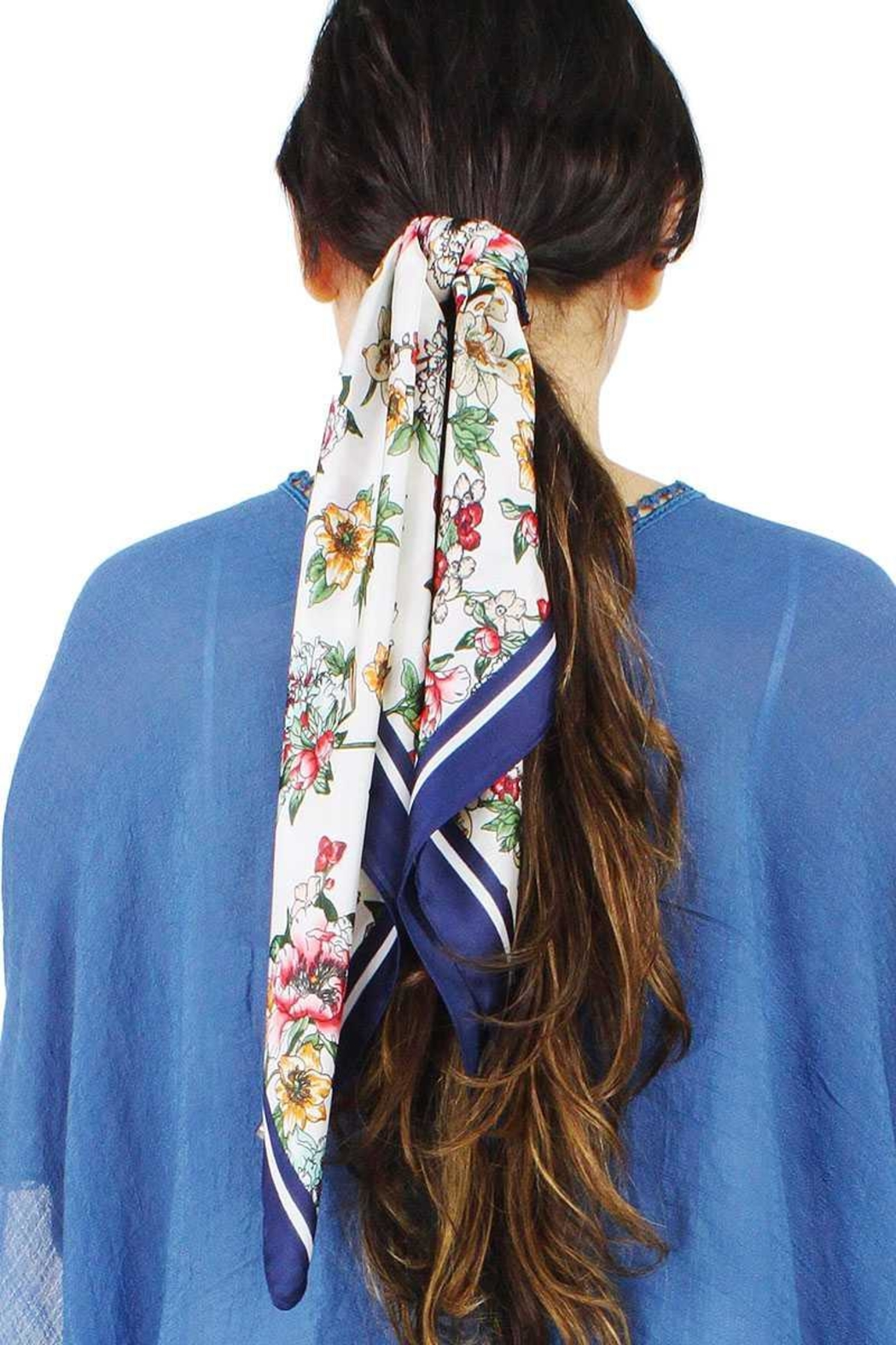 Nadya's Closet Fashion Flower Print Satin Scarf - Main Image