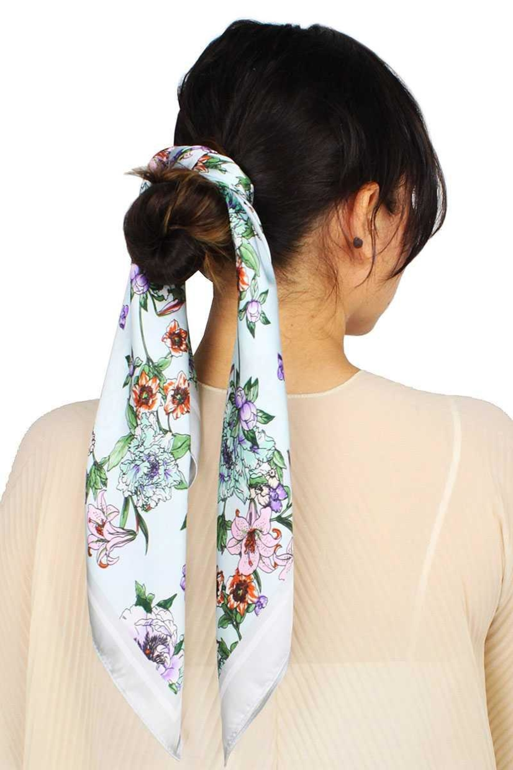 Nadya's Closet Fashion Flower Print Satin Scarf - Front Cropped Image