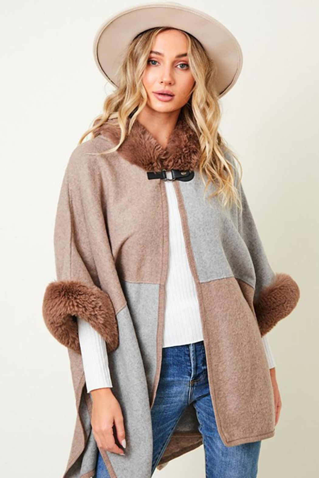 Nadya's Closet Faux Fur Hooded Coat  With Color Block - Front Full Image