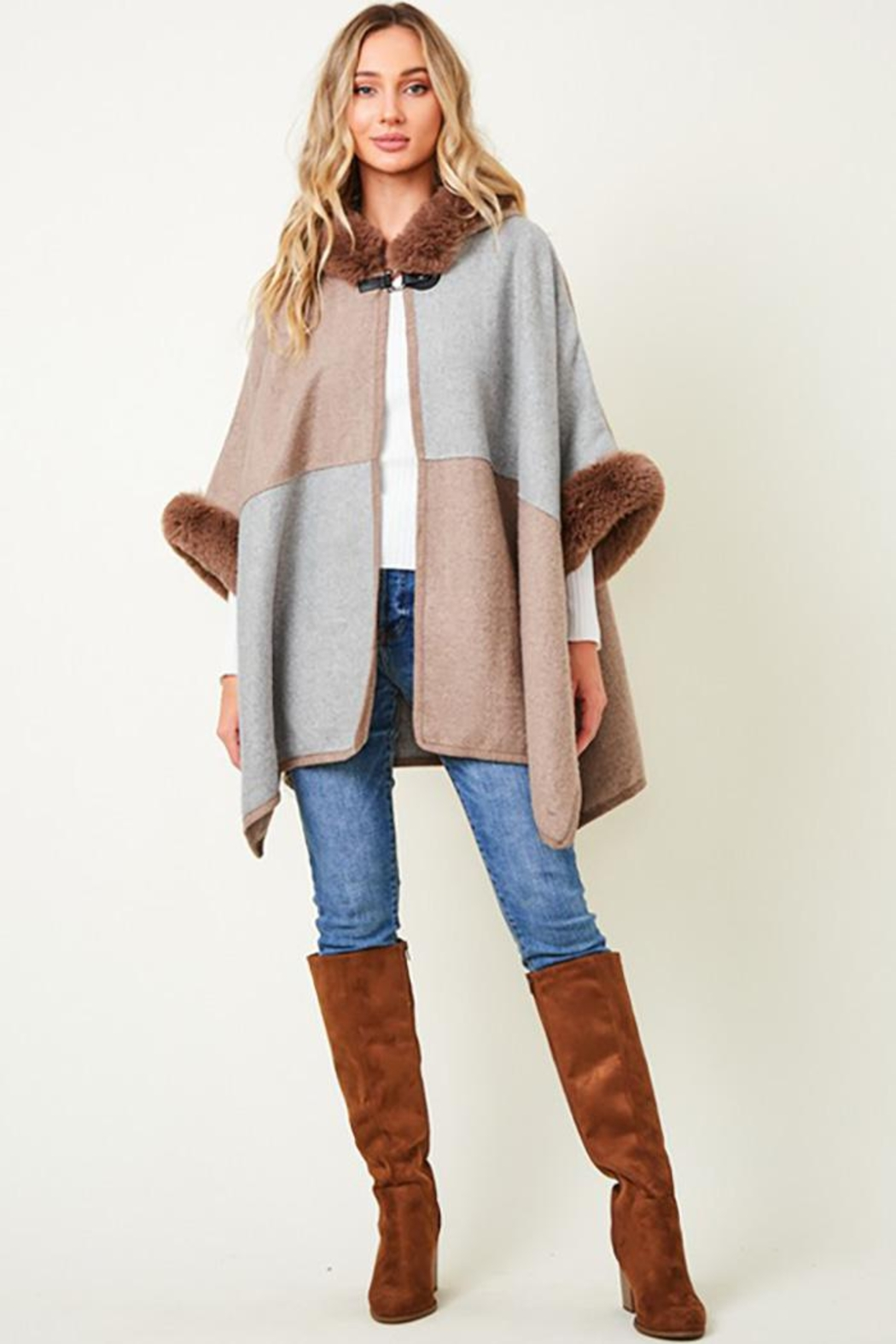 Nadya's Closet Faux Fur Hooded Coat  With Color Block - Back Cropped Image