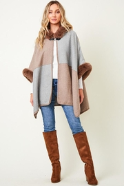 Nadya's Closet Faux Fur Hooded Coat  With Color Block - Back cropped