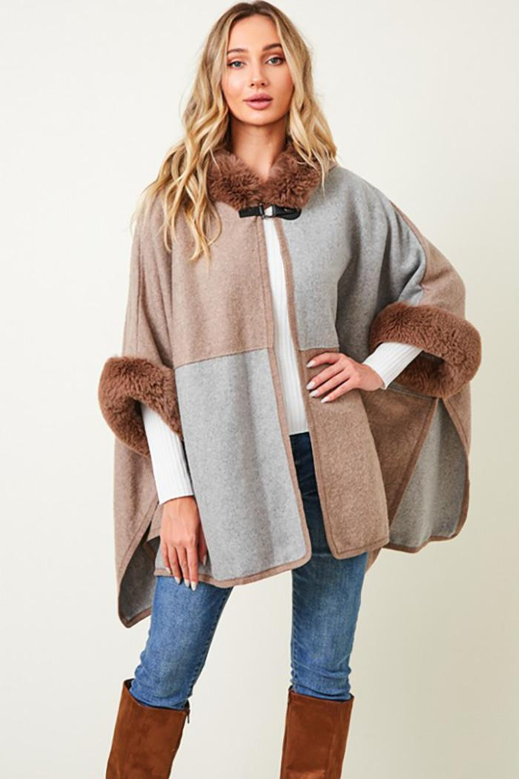 Nadya's Closet Faux Fur Hooded Coat  With Color Block - Main Image