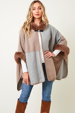 Nadya's Closet Faux Fur Hooded Coat  With Color Block - Product List Image