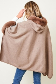 Nadya's Closet Faux Fur Hooded Coat  With Color Block - Other