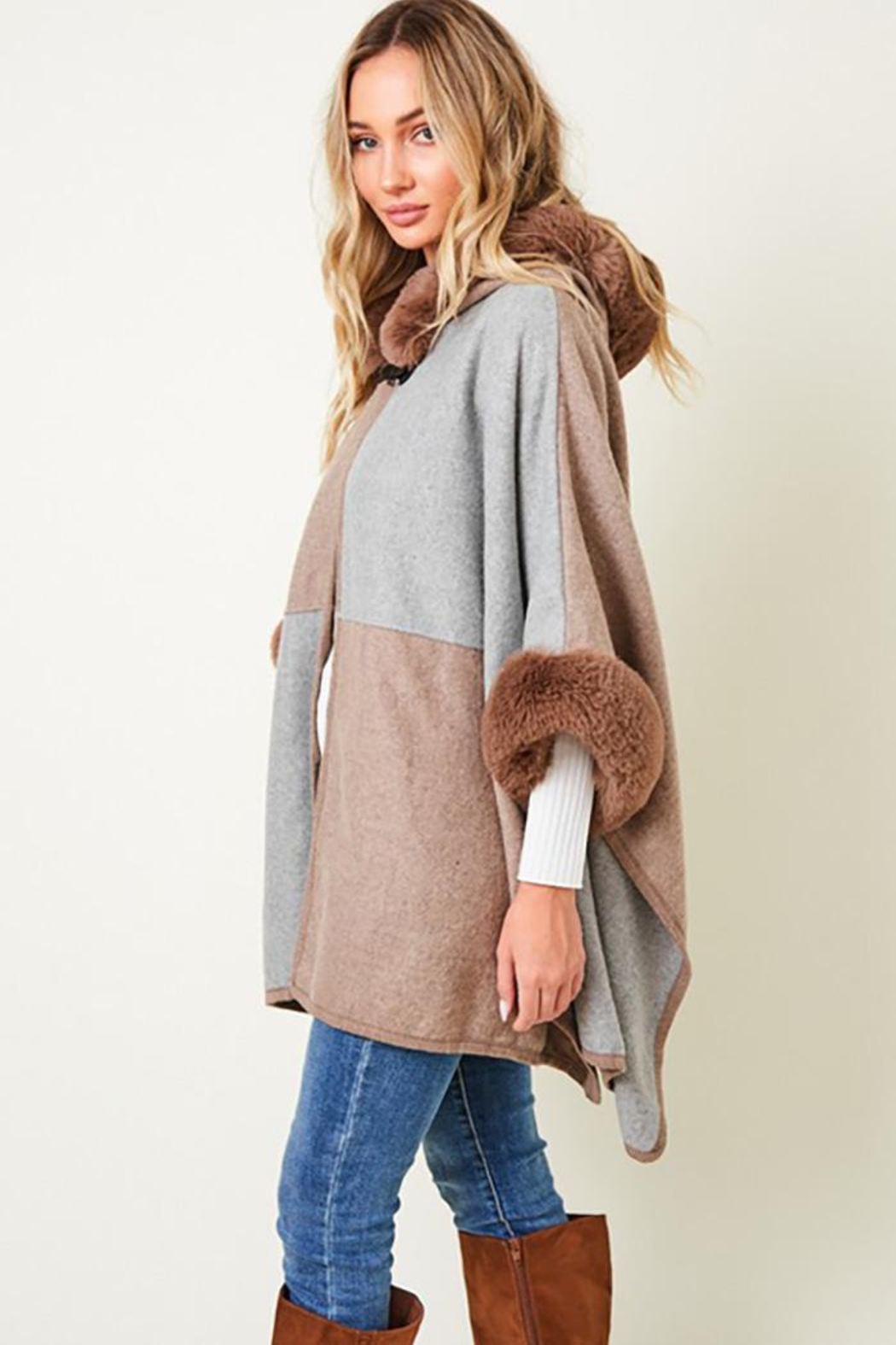 Nadya's Closet Faux Fur Hooded Coat  With Color Block - Side Cropped Image