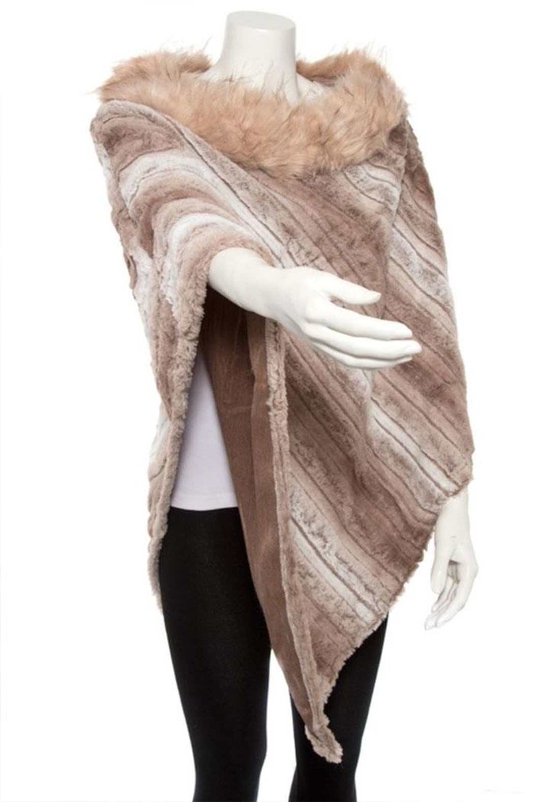 Nadya's Closet Faux Fur Line Mix Tone Poncho - Side Cropped Image