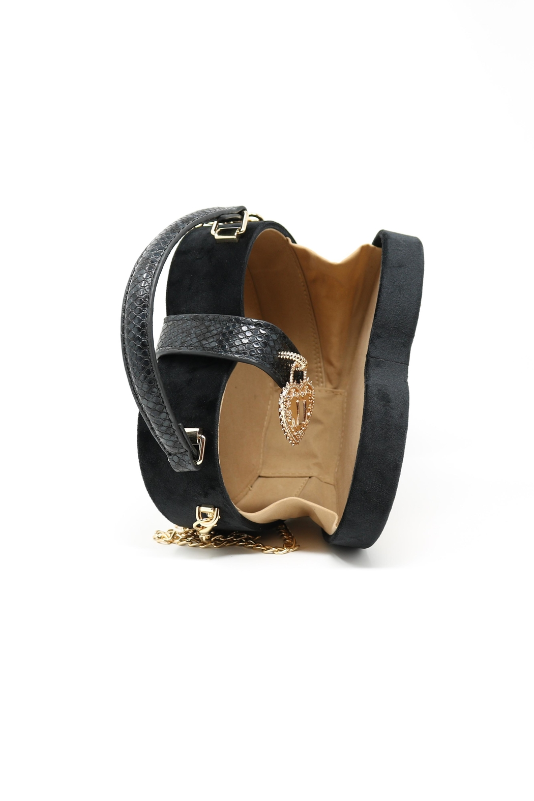 Nadya's Closet Faux Suede Heart Shape Bag - Side Cropped Image